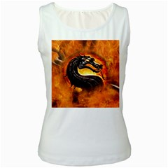 Dragon And Fire Women s White Tank Top