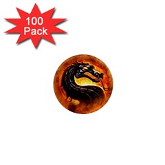 Dragon And Fire 1  Mini Magnets (100 Pack)