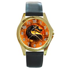 Dragon And Fire Round Gold Metal Watch
