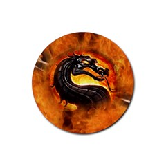Dragon And Fire Rubber Round Coaster (4 Pack)