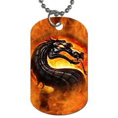 Dragon And Fire Dog Tag (one Side)