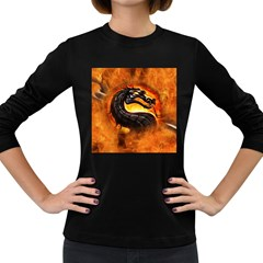 Dragon And Fire Women s Long Sleeve Dark T Shirts