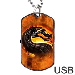 Dragon And Fire Dog Tag Usb Flash (one Side)