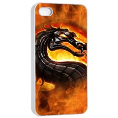 Dragon And Fire Apple Iphone 4/4s Seamless Case (white)