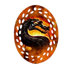 Dragon And Fire Oval Filigree Ornament (two Sides)