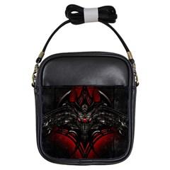 Black Dragon Grunge Girls Sling Bags