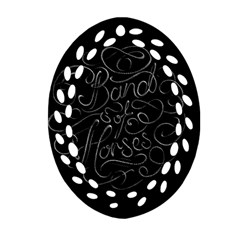Band Of Horses Oval Filigree Ornament (two Sides)