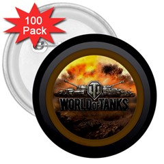 World Of Tanks Wot 3  Buttons (100 Pack)
