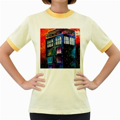 Dr Who Tardis Painting Women s Fitted Ringer T Shirts