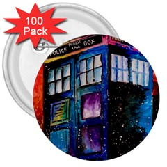 Dr Who Tardis Painting 3  Buttons (100 Pack)