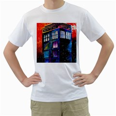 Dr Who Tardis Painting Men s T Shirt (white) (two Sided)