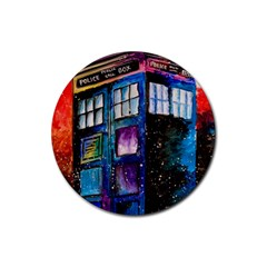 Dr Who Tardis Painting Rubber Coaster (round)