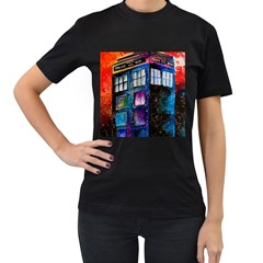 Dr Who Tardis Painting Women s T Shirt (black) (two Sided)