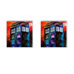 Dr Who Tardis Painting Cufflinks (square)