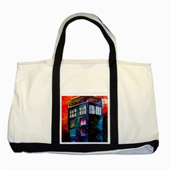 Dr Who Tardis Painting Two Tone Tote Bag
