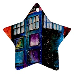 Dr Who Tardis Painting Star Ornament (two Sides)