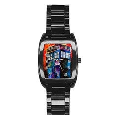 Dr Who Tardis Painting Stainless Steel Barrel Watch