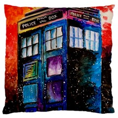 Dr Who Tardis Painting Large Flano Cushion Case (two Sides)