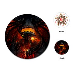 Dragon Legend Art Fire Digital Fantasy Playing Cards (round)