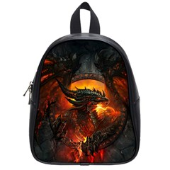 Dragon Legend Art Fire Digital Fantasy School Bag (small)