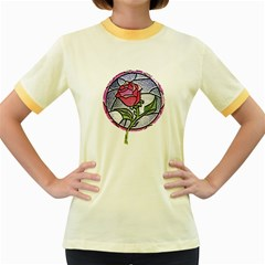 Beauty And The Beast Rose Women s Fitted Ringer T Shirts