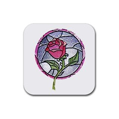 Beauty And The Beast Rose Rubber Square Coaster (4 Pack)