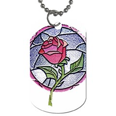 Beauty And The Beast Rose Dog Tag (one Side)