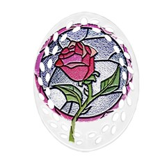Beauty And The Beast Rose Ornament (oval Filigree)