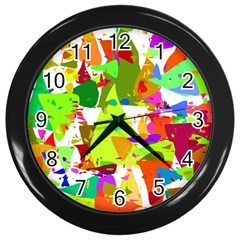 Colorful Shapes On A White Background                             Wall Clock (black)
