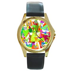 Colorful Shapes On A White Background                             Round Gold Metal Watch