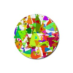 Colorful Shapes On A White Background                             Rubber Coaster (round)