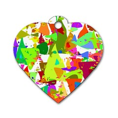 Colorful Shapes On A White Background                             Dog Tag Heart (one Side)