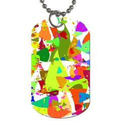 Colorful Shapes On A White Background                             Dog Tag (one Side)