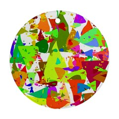 Colorful Shapes On A White Background                             Ornament (round)
