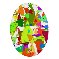 Colorful Shapes On A White Background                             Ornament (oval)
