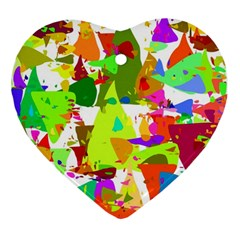 Colorful Shapes On A White Background                             Ornament (heart)