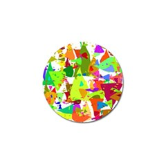 Colorful Shapes On A White Background                             Golf Ball Marker (4 Pack)