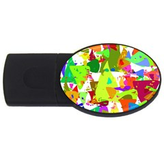 Colorful Shapes On A White Background                             Usb Flash Drive Oval (2 Gb)