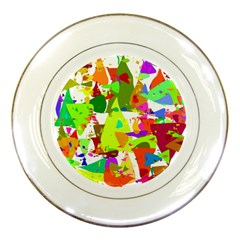 Colorful Shapes On A White Background                             Porcelain Plate