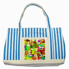 Colorful Shapes On A White Background                             Striped Blue Tote Bag