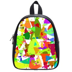 Colorful Shapes On A White Background                             School Bag (small)