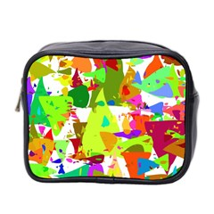 Colorful Shapes On A White Background                             Mini Toiletries Bag (two Sides)