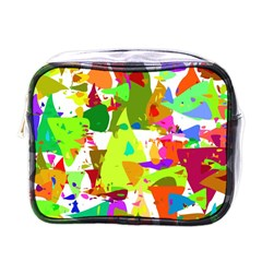 Colorful Shapes On A White Background                             Mini Toiletries Bag (one Side)