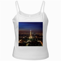Paris At Night White Spaghetti Tank