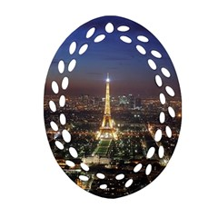 Paris At Night Oval Filigree Ornament (two Sides)