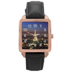 Paris At Night Rose Gold Leather Watch