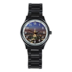 Paris At Night Stainless Steel Round Watch
