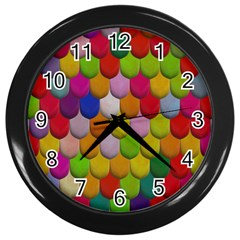 Colorful Tiles Pattern                           Wall Clock (black)