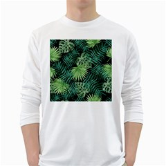 Tropical Pattern White Long Sleeve T Shirts