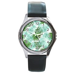 Tropical Pattern Round Metal Watch